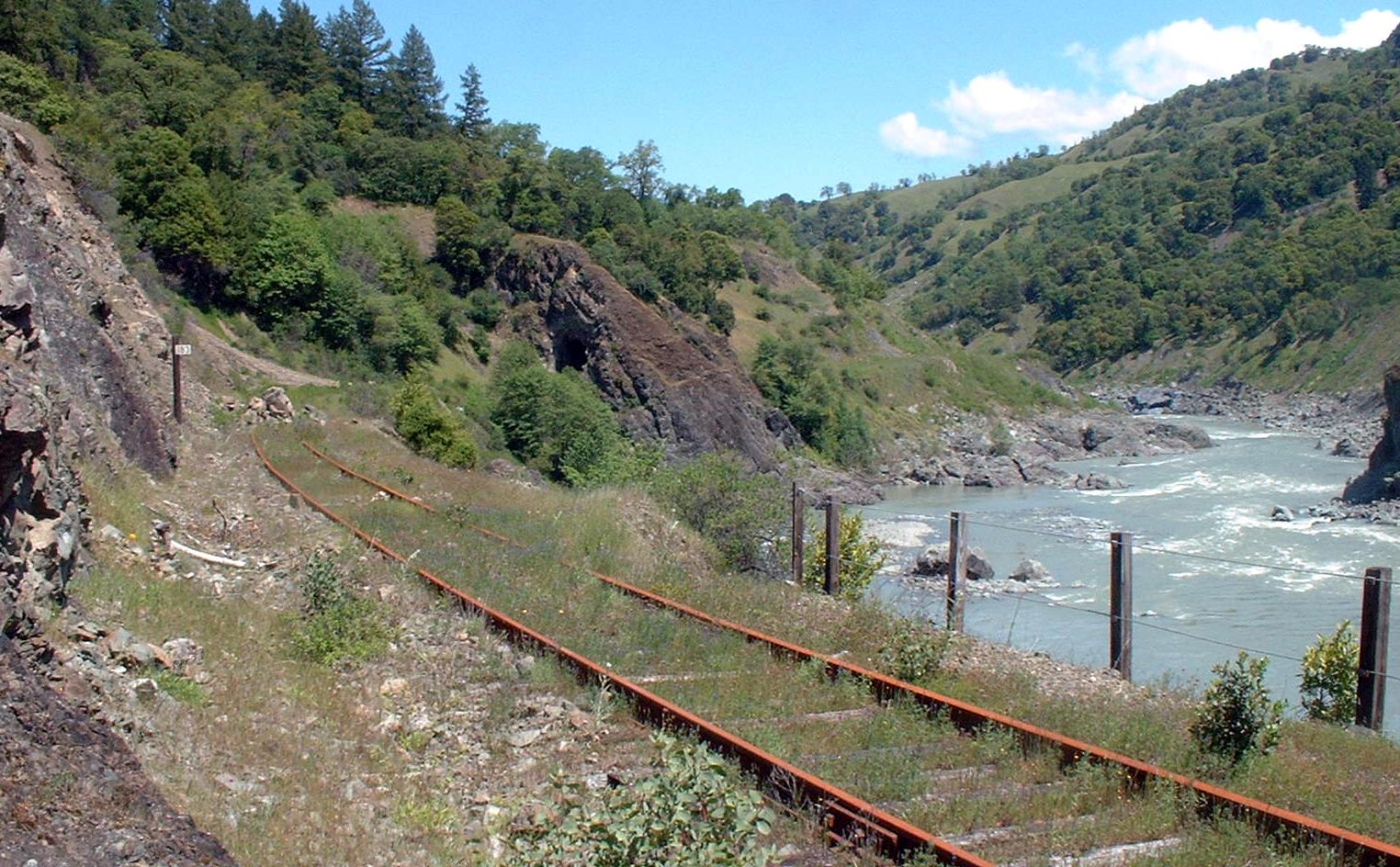 Abandoned rail line alongside mainstem Eel River.