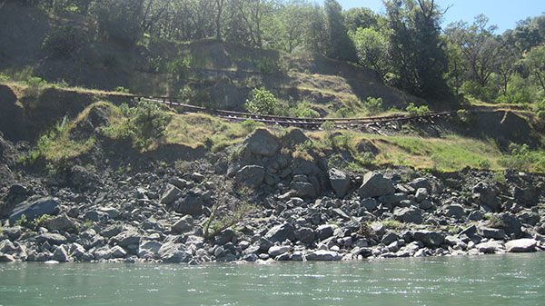 Railroad tracks falling from crumbling hillsides is a common sight along the mainstem Eel River