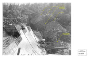 "Click here to see three photographs taken during Scott Dam construction that show a boulder labeled ""the knocker"" slide toward the dam."