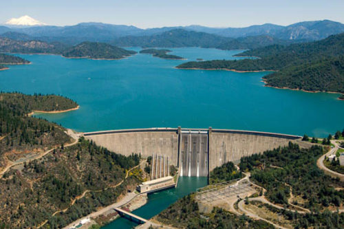Aerial view of Shasta Dam
